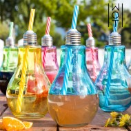 Kolorowe Szklanki Żarówka ze Słomką Wagon Trend 400 ml (6 sztuk)