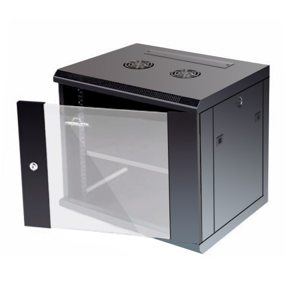 Nástěnná Racková Skříň Monolyth 201010 9 U 600 x 450 mm 1F-1V-2L Černý