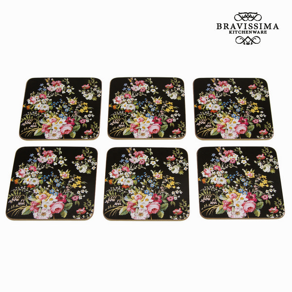 Sada 6 podtácků bloom black - Kitchen's Deco Kolekce by Bravissima Kitchen