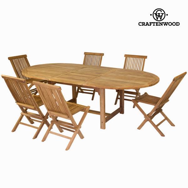 Rozkładany stół i 6 krzeseł by Craftenwood