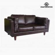 Canapea cu 2 Locuri Lemn de pin Imitație de piele Maro (165 x 92 x 80 cm) by Craftenwood