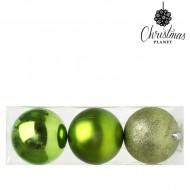 Vianočné gule Christmas Planet 5276 10 cm (3 uds) Plastické Zelená