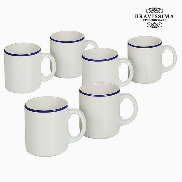 Set of jugs China crockery Biały Granatowy (6 pcs) - Kitchen's Deco Kolekcja by Bravissima Kitchen
