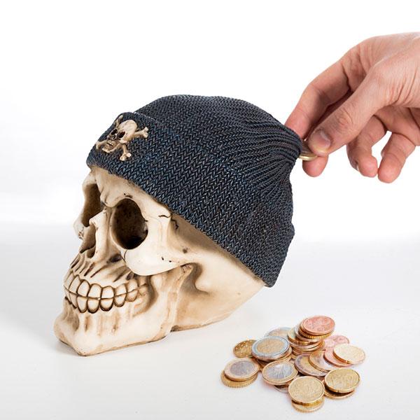 Skarbonka Czaszka z Czapką Pirata