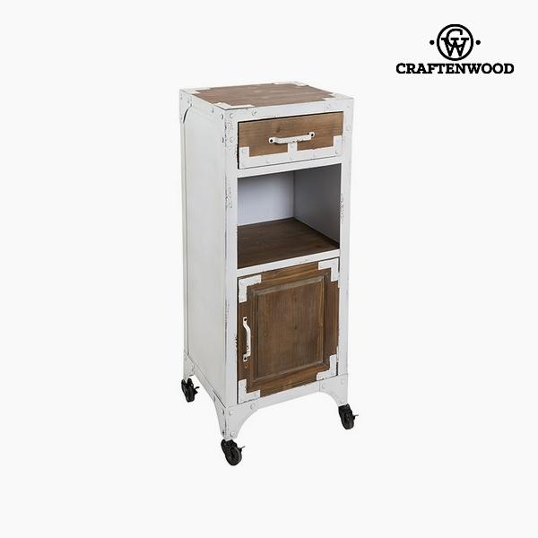 Stůl Jedlové dřevo Železo Bílý (2 zásuvky) (43 x 39 x 103 cm) by Craftenwood