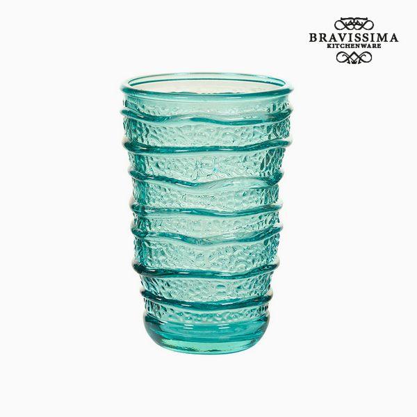 Váza z recyklovaného skla Tyrkysová (8 x 8 x 13 cm) by Bravissima Kitchen