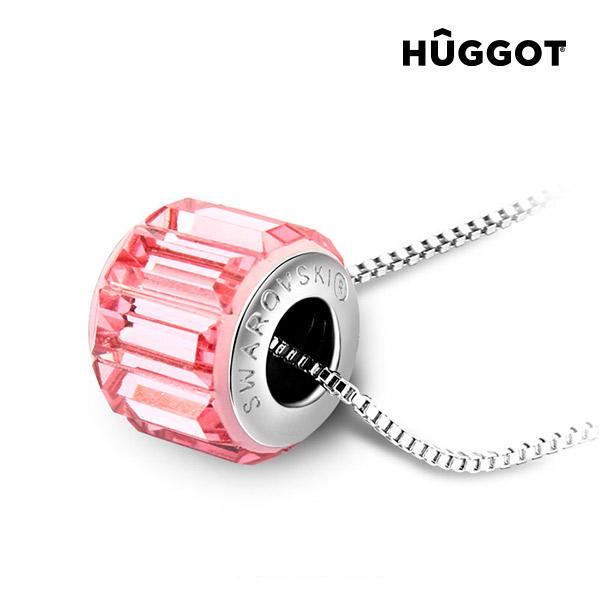 Přívěsek potažený rhodiem Pink Wheel Hûggot vyrobený s křišťály Swarovski® (45 cm)