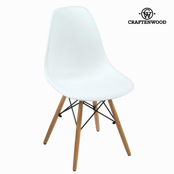 White polypropylene a beech dřevoen chair by Craftenwood