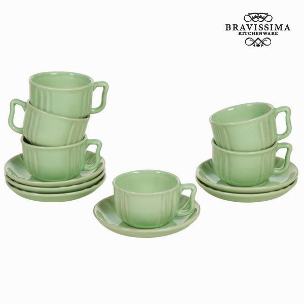 Zestaw filiżanek i talerzyków Porcelánové nádoby Kolor zielony (6 pcs) - Kitchen's Deco Kolekcja by