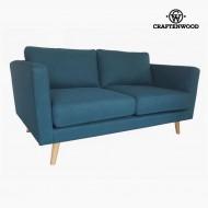 Canapea cu 2 Locuri Lemn de pin Poliester Albastru (148 x 88 x 83 cm) by Craftenwood