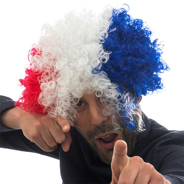 Afro Paruka s Francouzskou Vlajkou