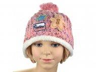 Pohodlná dětská čepice s nášivkami - růžová