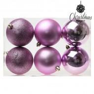 Vianočné gule Christmas Planet 8008 8 cm (6 uds) Purpurová