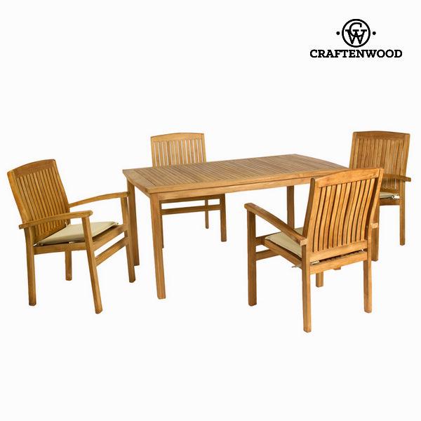 Stůl se 4 židlemi Dřevo (150 x 90 x 75 cm) by Craftenwood