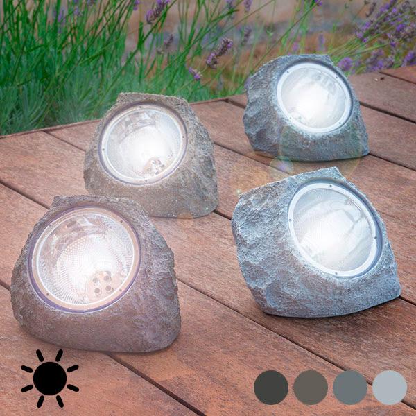 Umělý Solární Kámen (4 LED) - Šedý
