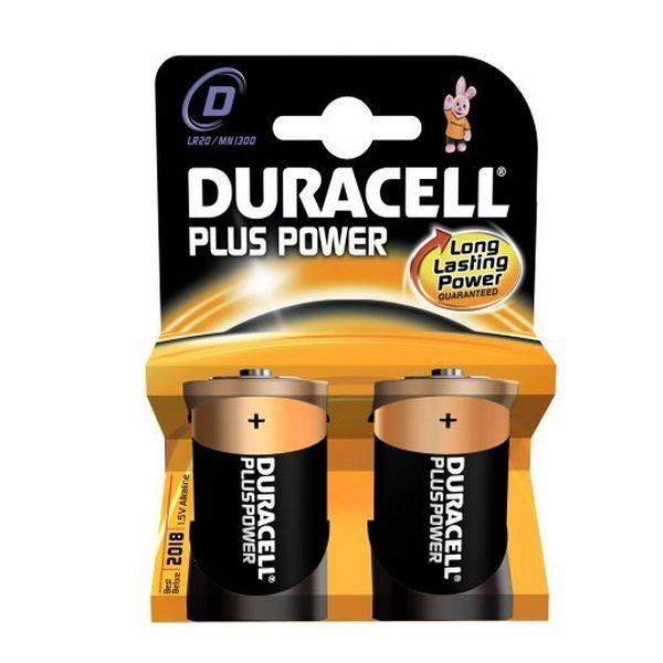 Alkalické Baterie DURACELL Plus Power DURLR20PB2 LR20 D 1.5V (2 pcs)