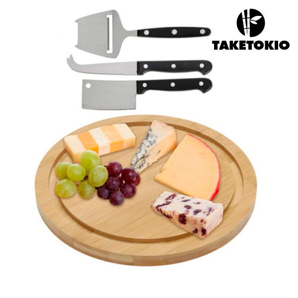 Bambusowa deska do sera i zestaw noży (4 elementy)