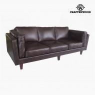 Canapea cu 3 Locuri Lemn de pin Imitație de piele Maro (228 x 92 x 80 cm) by Craftenwood