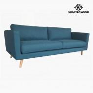 Canapea cu 3 Locuri Lemn de pin Poliester Albastru (211 x 88 x 83 cm) by Craftenwood