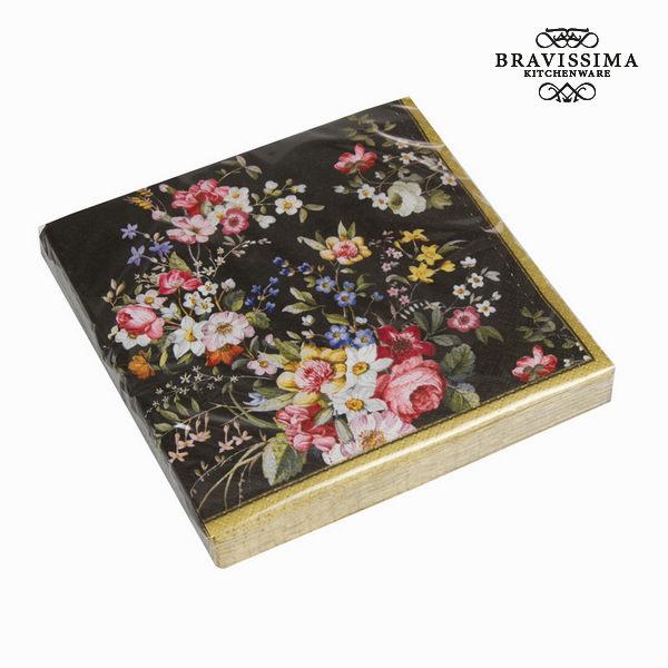 Sada 20 ubrousků bloom black - Kitchen's Deco Kolekce by Bravissima Kitchen