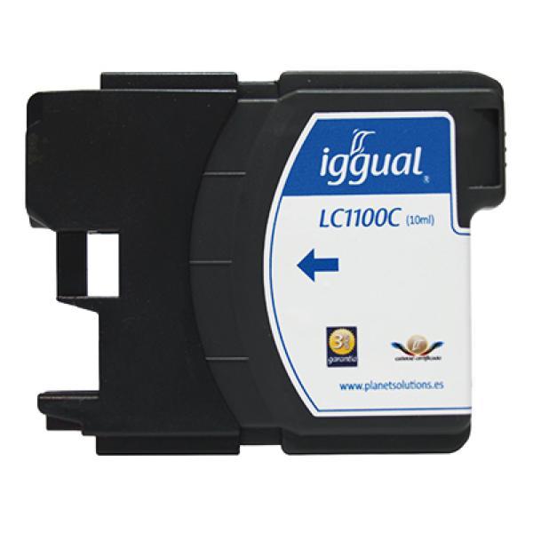 Recyklovaná Inkoustová Kazeta iggual Brother PSILC1100C Azurová