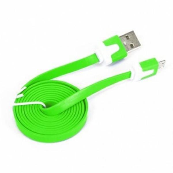 Kabel Płaski Micro USB do USB 2.0 Omega OUAMCG 1 m Kolor Zielony