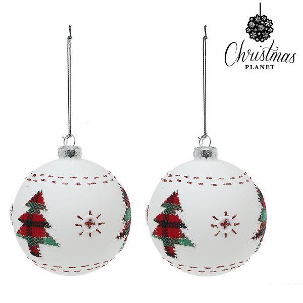 Vánoční koule Christmas Planet 1860 8 cm (2 uds) Sklo Bílý