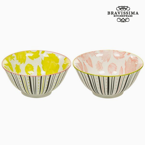 Set of bowls Porcelana Żółty Różowy (2 pcs) - Queen Kitchen Kolekcja by Bravissima Kitchen