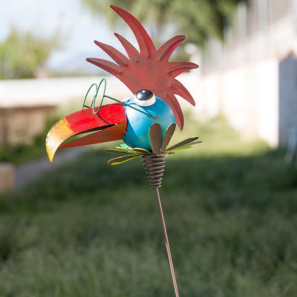 Metalowy Ptak Dekoracyjny do Ogrodów - Grzebień