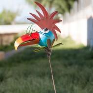 Ozdobný Plechový Zahradní Ptáček - Kohout