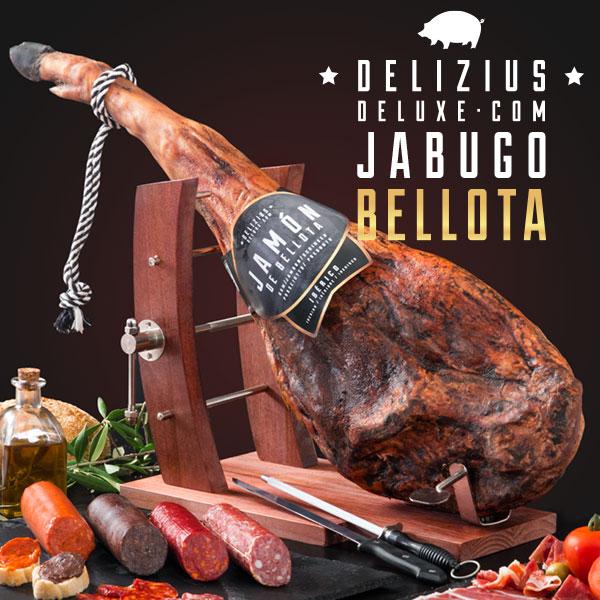 Set šunka + salámy + Gourmet stojan na šunku + nůž a bruska - Iberská žaludová šunka 7,5/8 kg