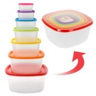 Plastové Nádoby na Potraviny s Barevnými Víčky (7 kusů)