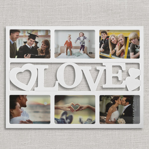 Ramka do zdjęć z serduszkami Love (6 zdjęć)