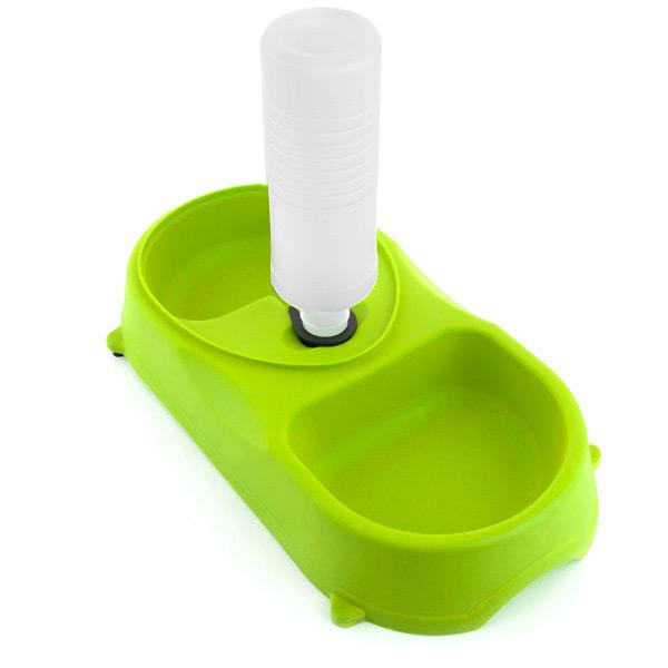 Miska do Jedzenia i Poidło z Butelką dla Zwierząt - Zielony
