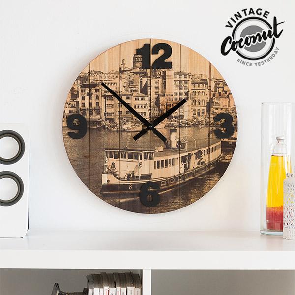 Zegar Ścieny Miasta Vintage Coconut