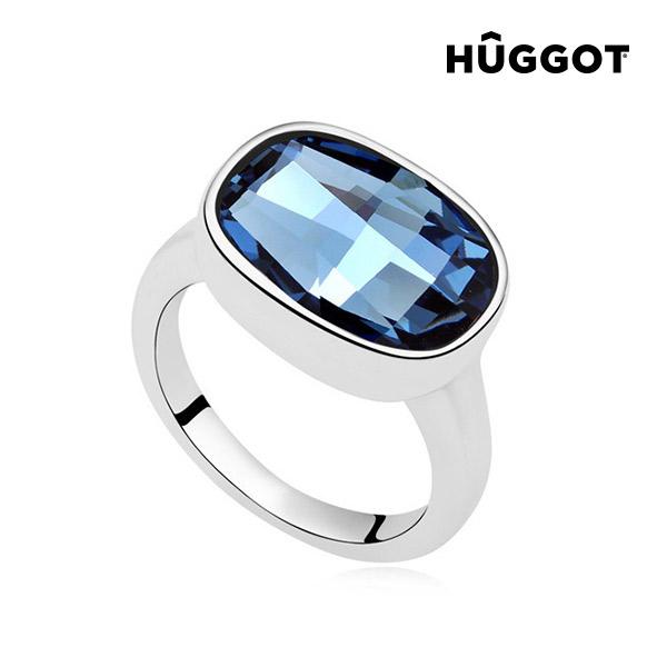 Prsten potažený rhodiem I´m Blue Hûggot vyrobený s křišťály Swarovski® - 17,5 mm