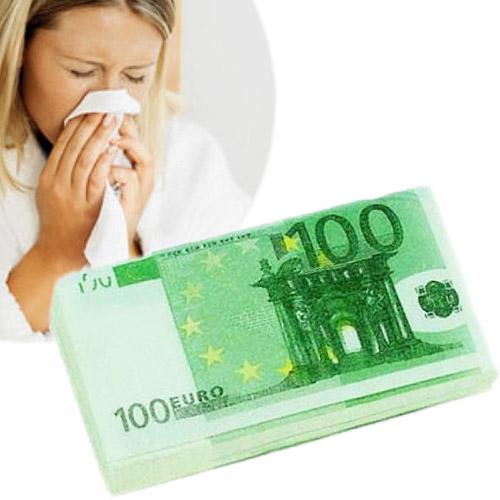 Chusteczki higieniczne z nadrukiem banknotów 100 Euro