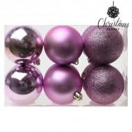Vianočné gule Christmas Planet 8251 6 cm (12 uds) Purpurová