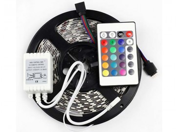 Barevný LED pásek 5 m + trafo a ovladač