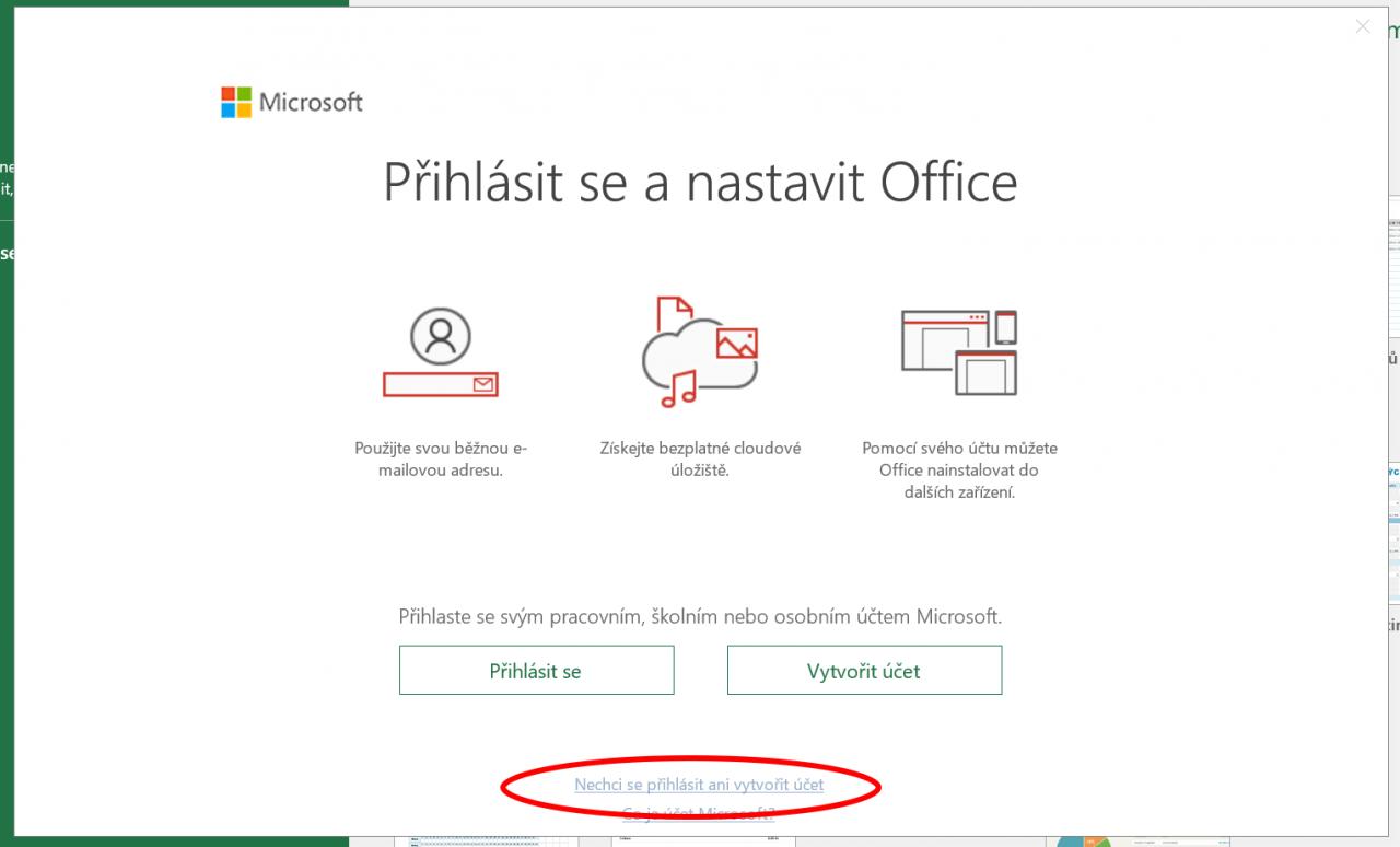 Přeskočení přihlášení u použitého Microsoft Office 2016