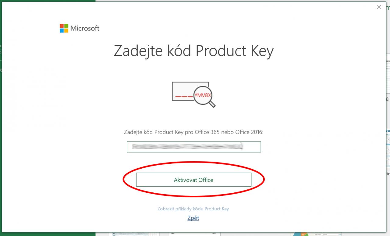 Zadání aktivačního Product Key druhotného Microsoft Office 2016