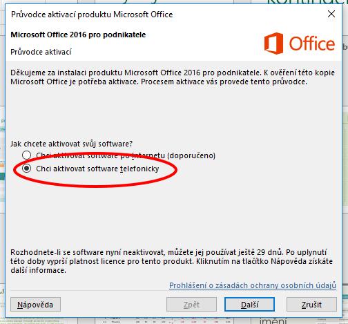 Aktivace Microsoft Office 2016 pomoci telefonického hovoru