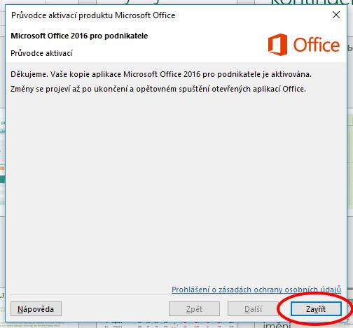 Hláška zobrazující správně aktivovaný Microsoft Office 2016