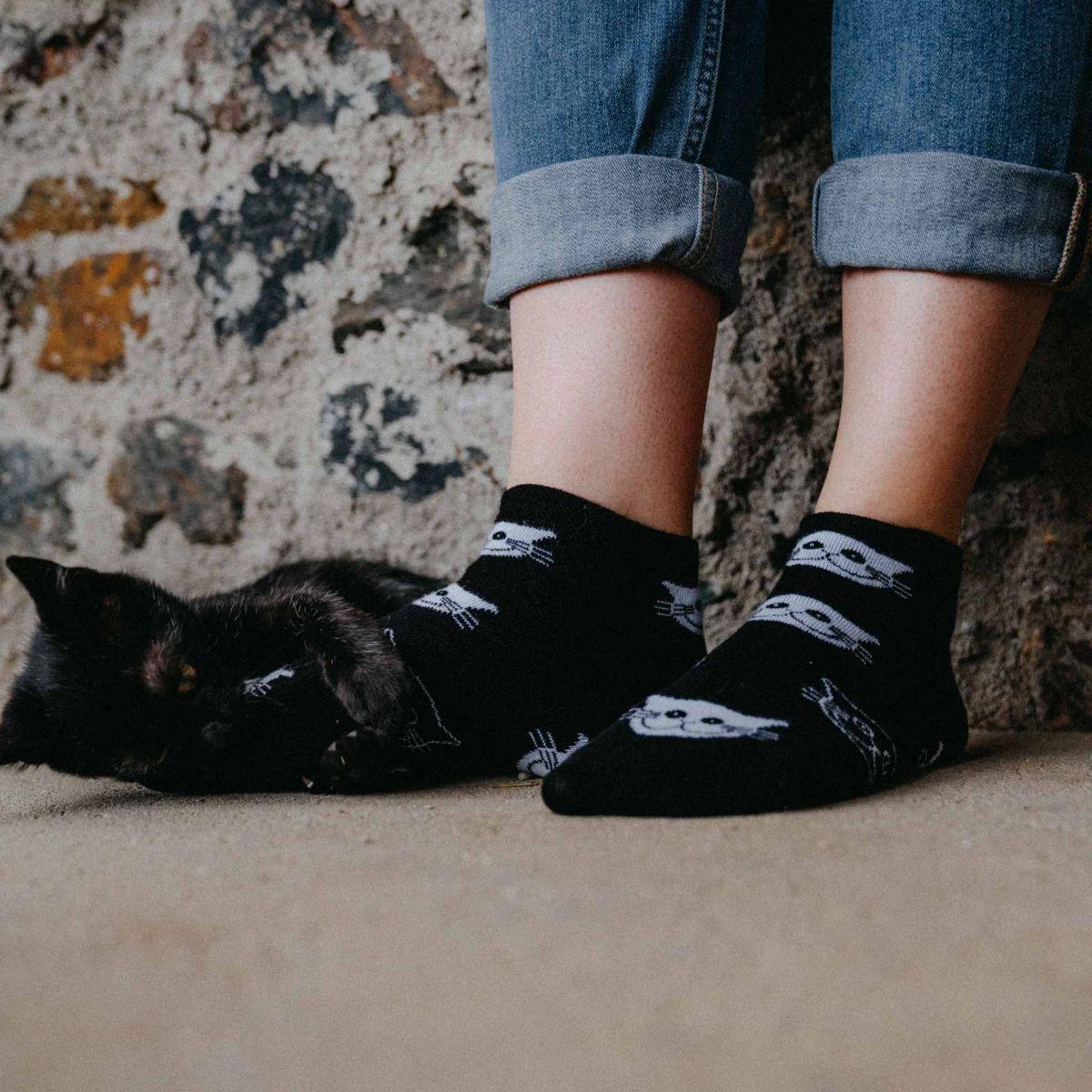 Ponožky - Mačky čierne - nízke p1