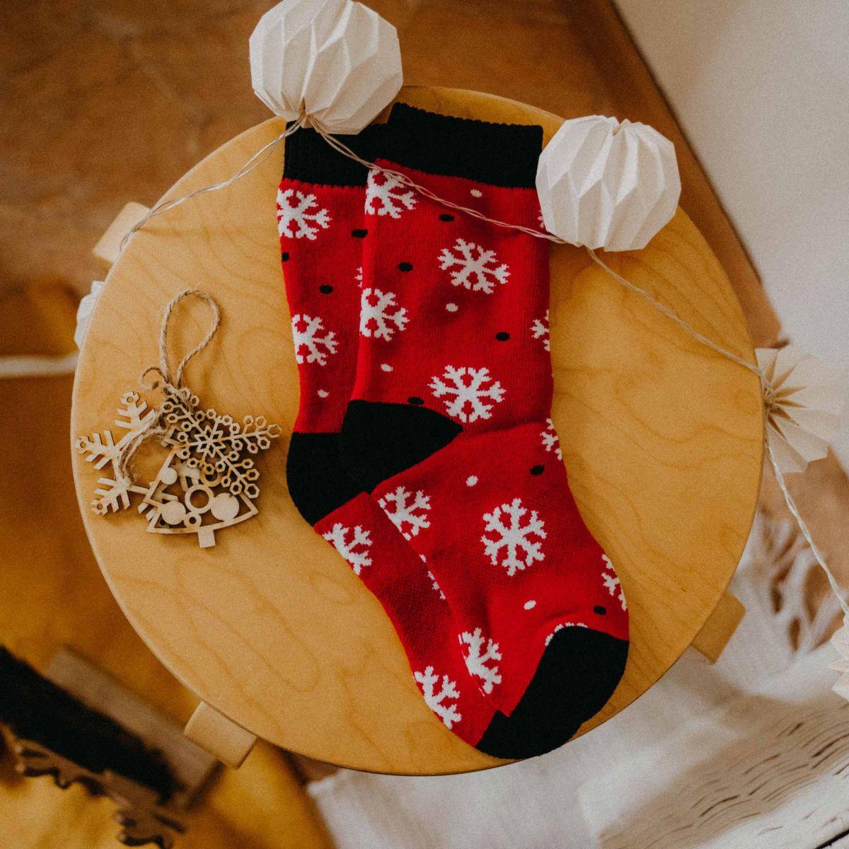 Ponožky termo - Vločky - červené