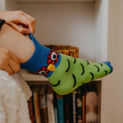 Socken - Eule - Grün