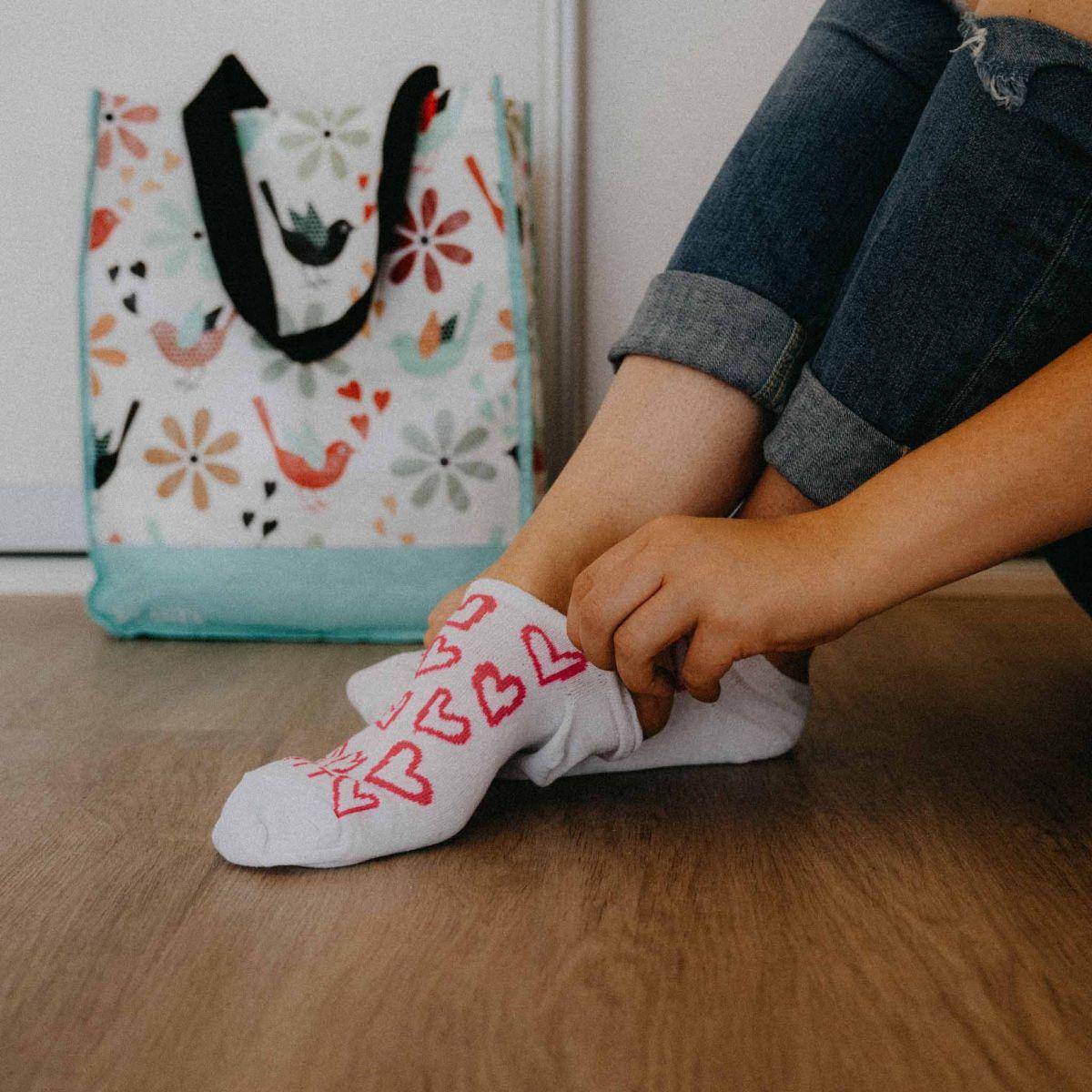 Socken - Herz - weiß p2