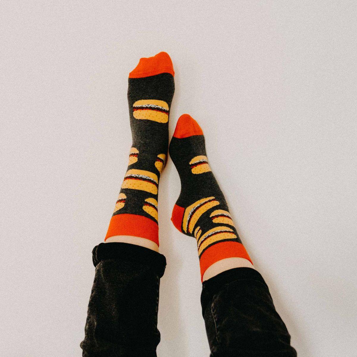 Ponožky - Hamburger + hranolky - 2 páry v darčekovej krabičke p2