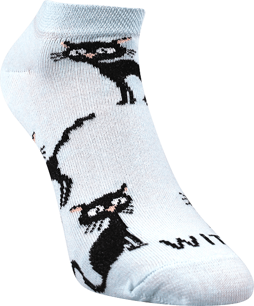 Ponožky - Kočka světle modré nízké