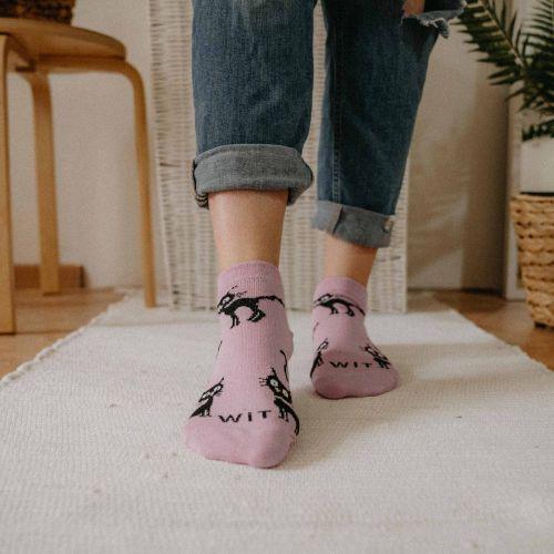 Ponožky - Mačka svetlo ružové nízke p2